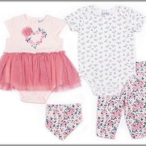 Nicole Miller 4pc flower onesie/leggings/bib set
